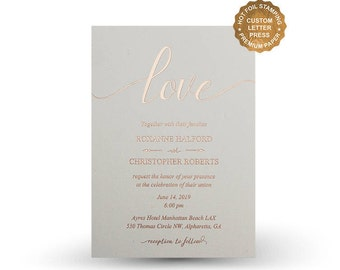 Rose gold foil wedding invitations Hot foil letterpress invitation set Gold Silver Rose Gold Copper Foil -  PF5203