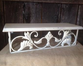 103 - Shelf- Wall Decor -Ornate - Metal -Wood - Shabby Chic-Cottage Chic