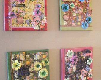 Flowers Canvas Wall Decor, Mixed Media Flowers Canvas Set, Floral Decoupage Canvas, 3D Floral Assemblage Canvas, Flowers Collage Canvas