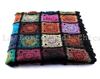 Afghan blanket, Crochet blanket, granny's squares blanket, sofa blanket, bed blanket, bohemian blanket, hand made blanket