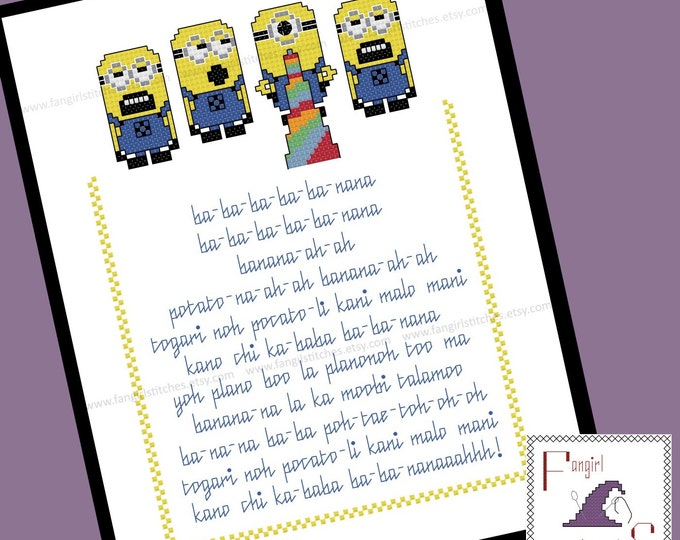 Minion Song Cross Stitch - Despicable Me Inspired PDF Pattern - INSTANT Download
