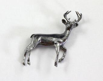 Deer Buck Pewter Figurine Vintage Collectible Miniature