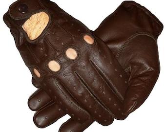 Genuine leather Driving dark brown Gloves