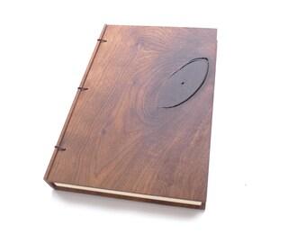 6x9 Walnut Wooden Notebook Wood Journal Sketchbook Rustic Wood Wedding Guest Book Personalized Journal Refillable Journal Custom Journal