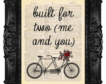 TANDEM BICYCLE Built for Two Art Print beautifully upcycled vintage dictionary page book art print dictionary art print 424