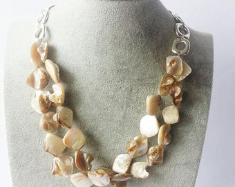 Shell Necklace Abalone  Necklace Handmade Necklace Abalone Shell Necklace Multi Strand Necklace Statement Jewelry Statement Necklace