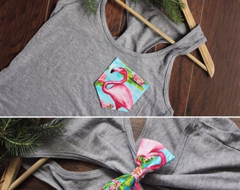 Flamingo Women Pocket Bow Tank Top