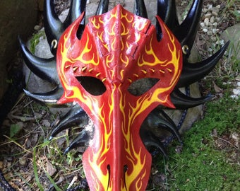Leather Flame dragon mask|Hand knotted and braided leather headband|Hand painted|Fantasy|LARP|Renn faire|Fairy fest|Decoration|Halloween