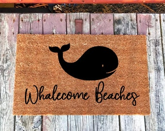 Whalecome Beaches Welcome Doormat, Coastal Decor, Beach Doormat, Beach Home  Decor, Beach