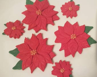 Edible Sugar Poinsettias Red Christmas Flowers Cake Cupcake Toppers Decorations