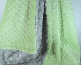 Mint and Silver Gray Rose Swirl Minky Baby Blanket Sage Minky Dot with Gray Swirl Baby Blanket,