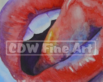 Luscious Lips - Limited Edition Print of my original Water Colour Painting