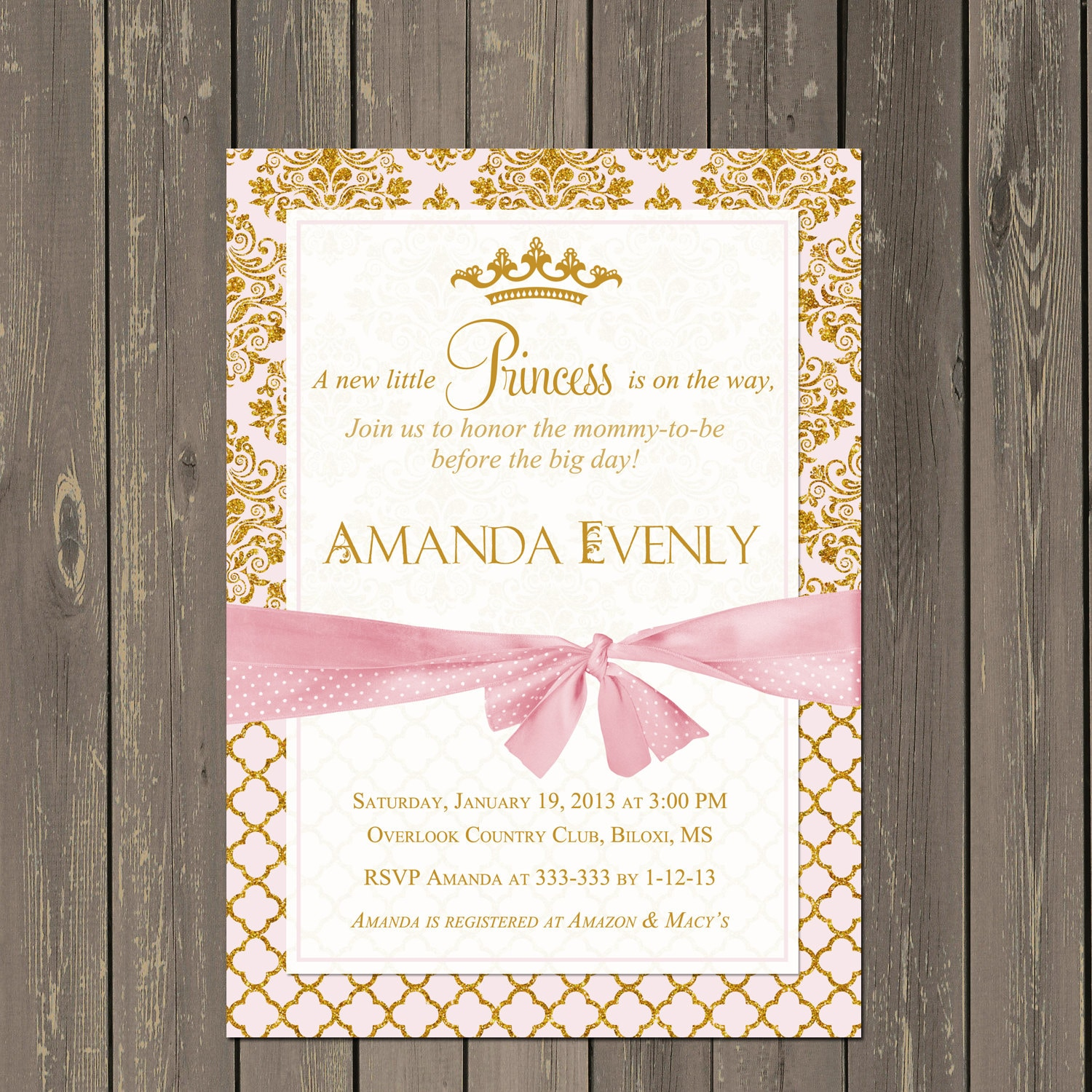 Princess Baby Shower Invitation Pink and Gold Princess Shower