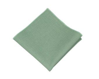 "Dark Mint Pocket Square.Linen Pocket Square.Mint Wedding Handkerchief.Favors.Gifts.10""x 10"""