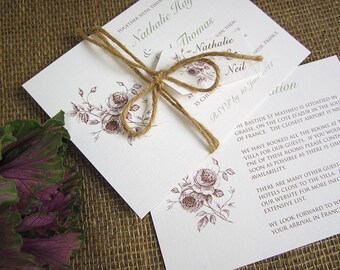 Rustic rose wedding invitation with twine and tag / vintage rose invitation / rustic rose invite / country wedding / barn wedding / SAMPLE