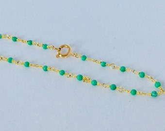 Beaded chain 24 k gold plated and green chalcedony bracelet