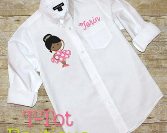 Dance Recital Cover Up Oversized Monogram Button Up Shirt - Ballerina Dancer - Dance Revue Review Gift Pointe Shoes Slippers Over Sized