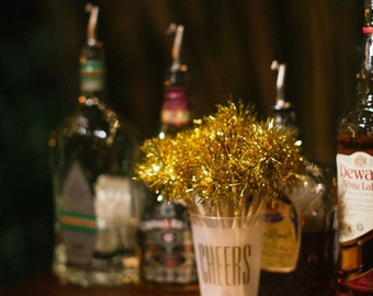 90 Gold or Silver Tinsel Drink Stirrers