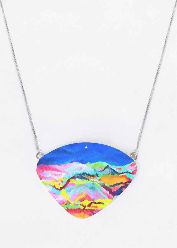 Rocky Mountains Statement Necklace Pendant  Original Art on Metal Boho Hippie Jewelry Made in USA