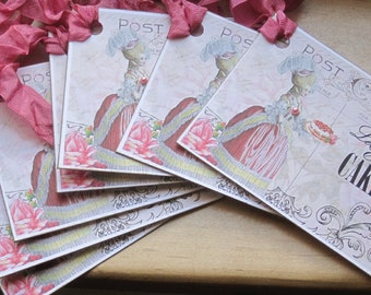 french market marie antoinette let them eat cake tags set of 6