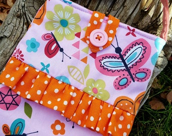Butterfly Toddler Purse, Little Girl's Purse, Purse with Ruffle, Girl's Pink Purse, Easter Purse, Flower Girl Purse