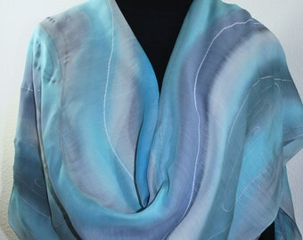 Silk-Wool Steel Blue, Gray Shawl Handpainted Warm & Soft Wrap ASPEN WINDS - Select Your SIZE! Mother of the Bride, Mother of the Groom Shawl