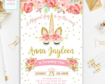 Unicorn Birthday Invitation, Pink and Gold Invitation, 1st Birthday Magical Unicorn Party, Floral Invitation, Unicorns Invitation, Printable