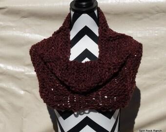 On SALE Outlander Inspired OOAK Original Design Cowl Alpaca Wool Hand Knitted Chocolate Brown Reddish Brown Reversible