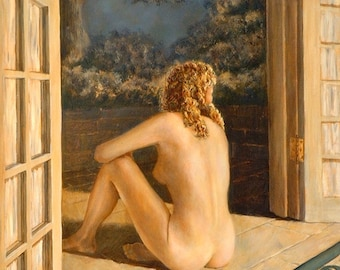 Peaceful Retreat, 14 x 11, oil painting, female figure, romantic, realism, john entrekin