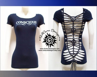 CONSCIOUS - Cut, Shredded and Weaved Womens / Junior Top for Yoga Wear, Beach Wear, Club Wear, Zen Wear