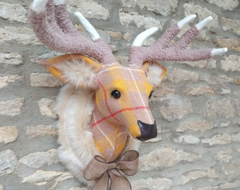 Handmade Harris tweed mustard and yellow check deer head faux taxidermy wall mounted animal stag head trophy