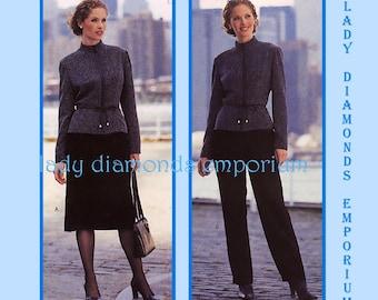 Butterick 3308 David Warren Semi-Fit Jacket Straight Skirt Pants 3-Piece Professional Suit Womens size 14 16 18 OOP Sewing Pattern Uncut FF