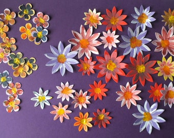 30 HAND PAINTED Flowers large and small assorted flowers Cards Scrapbooks Gift Tags Labels Floral theme Gardening