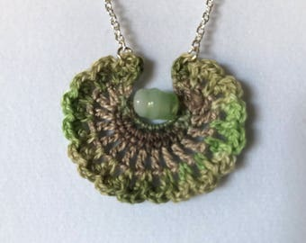 Crocheted Fan Necklace/ Green and Brown Necklace/ Handmade Jewelry with Bead
