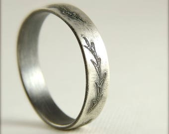 Fern wedding band, engraved leaves branches, sterling silver, simple wedding band, 5 mm wide x 1.5 mm thick.