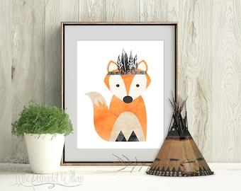 8x10 11x14 DIGITAL Fox nursery print, printable wall art, fox printable, nursery fox art, fox wall decor, nursery decor, woodland, boys