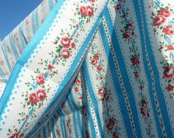 9 m cotton fabric with floral stripes baladyeres * 0.80 m * sky blue white pink - new old stock