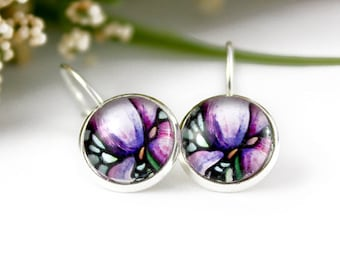 Iris Earrings - Abstract Purple Floral Jewelry - Purple Iris Flower Earrings - Silver Earrings - Art Nouveau Art - 12 mm round glass