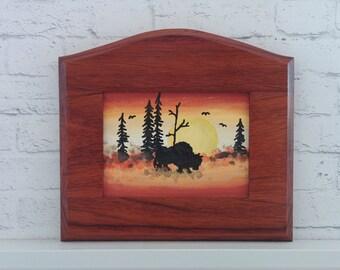 "Original Miniature Painting, ""Home on the Plain"", Acrylic on Canvas, Custom Exotic Hardwood Frame"
