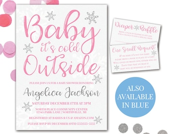 Baby It's Cold Outside Invitation, Winter Baby Shower Invitation, Baby It's Cold Outside Baby Shower, Printable Baby Shower Invitation Set