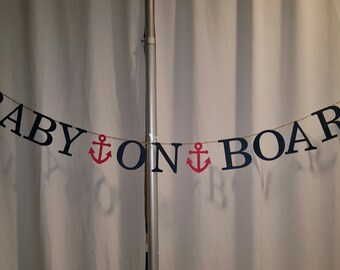 Baby on Board Banner Nautical Baby Shower Banner Paper Bunting Garland with Anchor