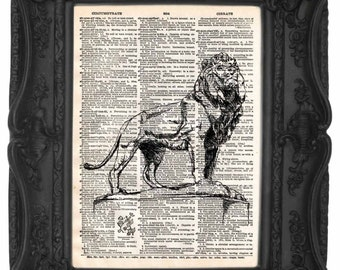 Bronze Lion Statues Art Institute of Chicago Dictionary Art Print | Bronze Lions Decor |  Home Decor | Antique Art