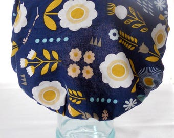 Waterproof Shower Cap - Shabby Cottage Chic Granny Floral Flowers Navy Blue Yellow Peach Pink - Retro Rockabilly Bath and Beauty Hat