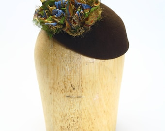 Brown Velour Fur Felt Fascinator Cocktail Hat with Silk Chiffon Paisley Detail- Millinery/Couture/KateMiddleton/Wedding
