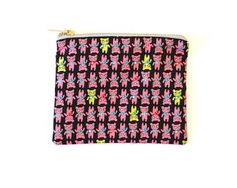 Pink Kawaii Bears Print Metal Zipper Pouch 6x5 - Coin Purse