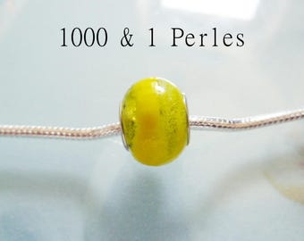 2 yellow lampwork European beads