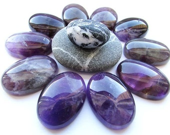 Natural Amethyst Cabochon 25 x 18 mm Purple Amethyst Cabochon Oval Shape Gemstone Cabochon Flat back Jewelry Supplies (1)