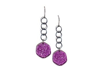 Amethyst Purple Textured 'Stained Glass' Lucite Chain Drop Earrings   Vintage Lucite Statement Earrings