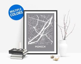 Munich Full Color Map Print | Munich Germany Map | Munich Art