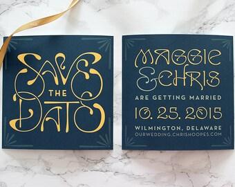 "Printable and Customizable DIY Wedding Save the Date ""Art Nouveau"""